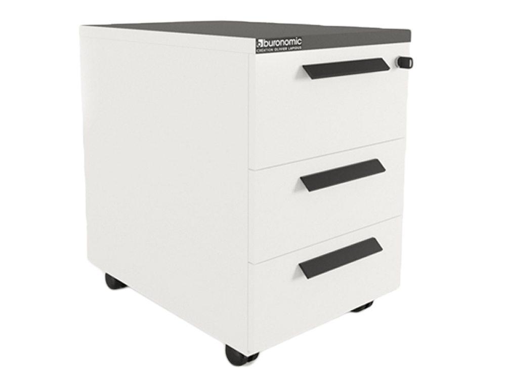 Buronomic Mobile Pedestal with 3 Box Drawers - Black
