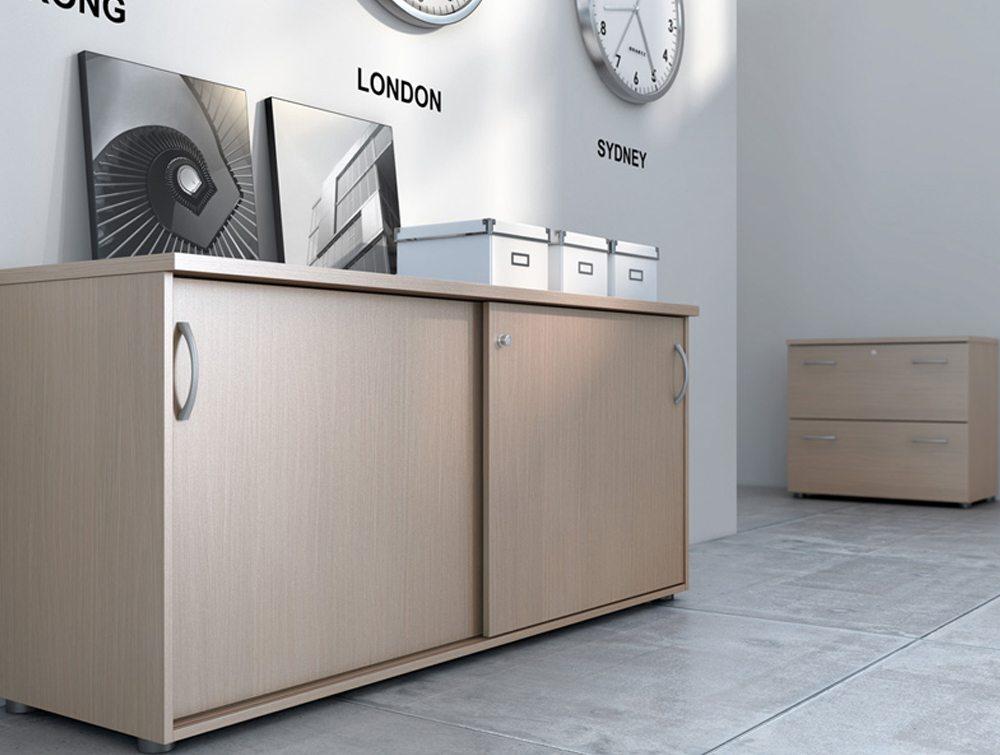 Buronomic sliding doors credenza and shelf storages