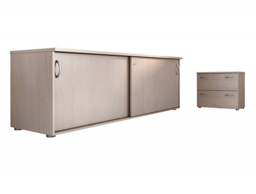 Buronomic Sliding Doors Credenza and Shelf Storages