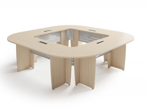 Buronomic  ucces meeting room square table in bleached oak