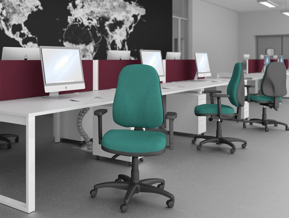 OA High Backrest Task Operator Office Chair with Adjustable Armrests in Swizzle Green