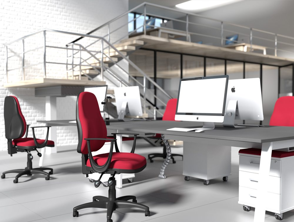 OA High Backrest Task Operator Red Fabric Office Chairs with Fixed Armrests