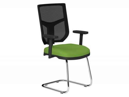 OA Mesh Back Cantilever Chair BMS in E051 Green and Black Mesh