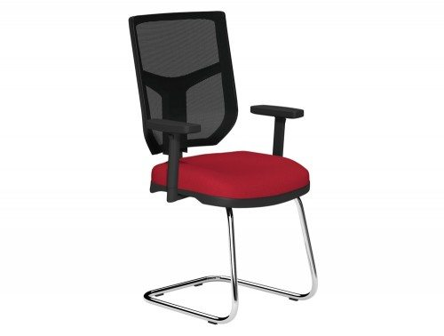 OA Mesh Back Cantilever Chair BMS in E090 Red and Black Mesh
