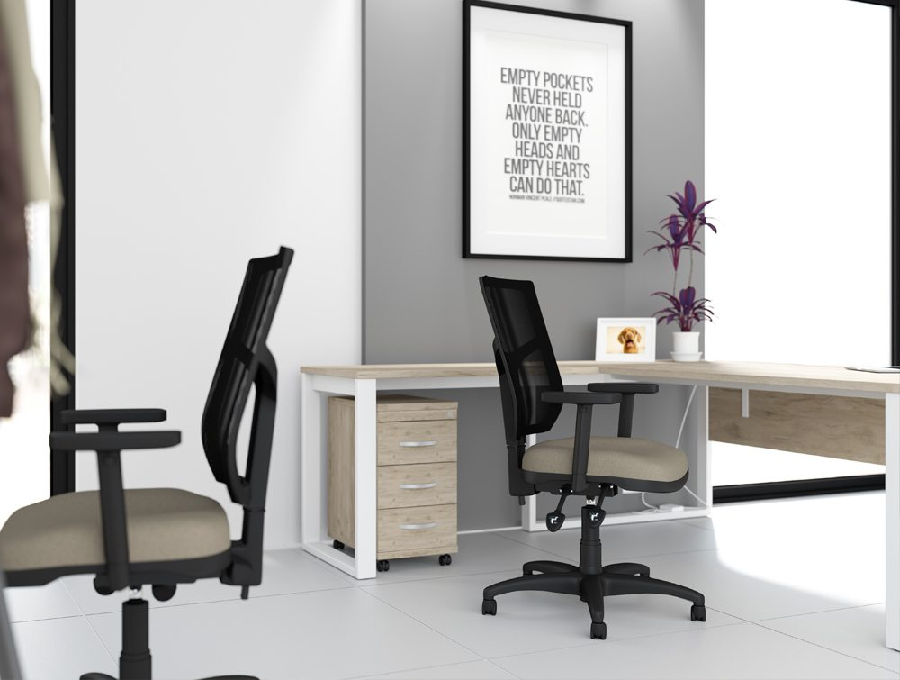 OA Mesh Back Grey Office Task Operator Chair with Arms