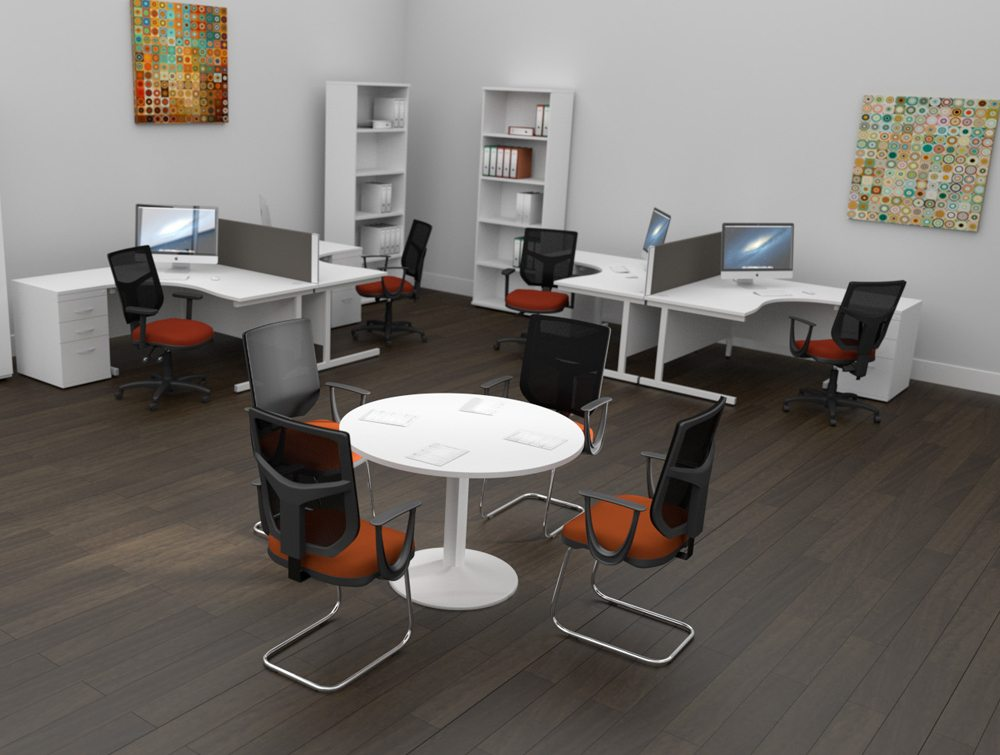 OA Mesh Back Office Meeting Cantilever Chairs Orange