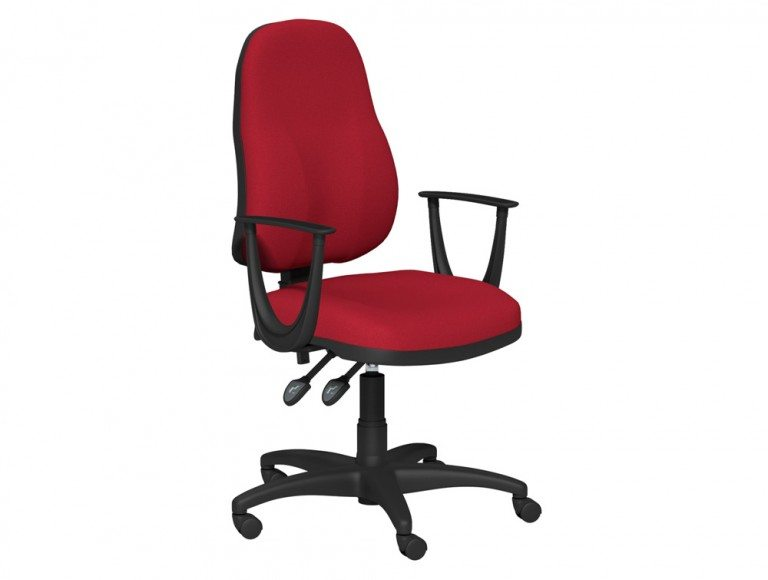 OA Task Operator High Backrest Swivel Chair With Fixed Armrests in E090 Red