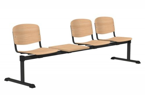 OI Series Bench with Table Beech Wood BE-BLK-4PT