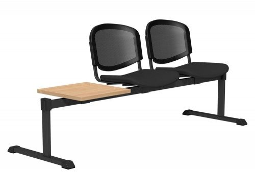 OI Series Bench with Table Mesh Backrest BE-BLK-3PT-E001-TKMS1 in E001 Black