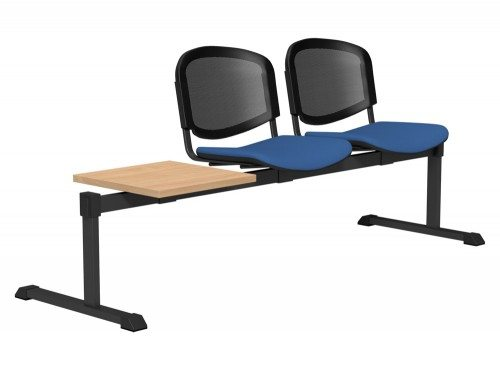 OI Series Bench with Table Mesh Backrest BE-BLK-3PT-E032-TKMS1 in E032 Blue