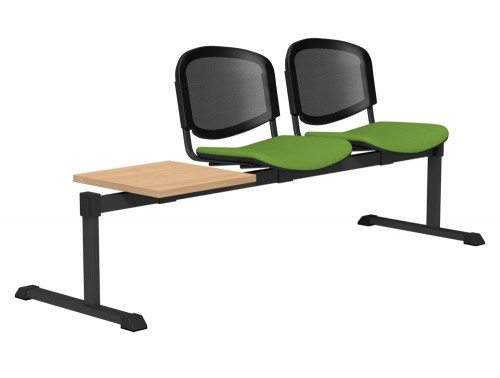 OI Series Bench with Table Mesh Backrest BE-BLK-3PT-E051-TKMS1 in E051 Green