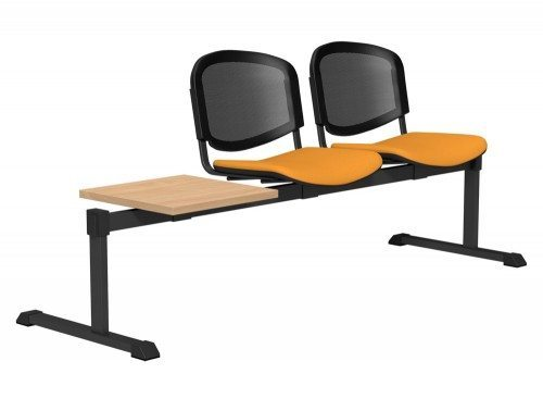 OI Series Bench with Table Mesh Backrest BE-BLK-3PT-E112-TKMS1 in E112 Yellow