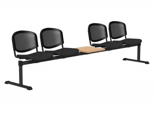 OI Series Bench with Table Mesh Backrest BE-BLK-5PT-E001-TKMS1 in E001 Black