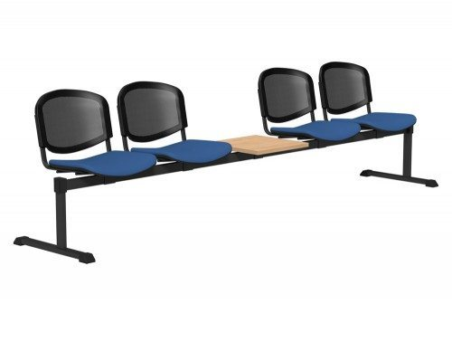 OI Series Bench with Table Mesh Backrest BE-BLK-5PT-E032-TKMS1 in E032 Blue