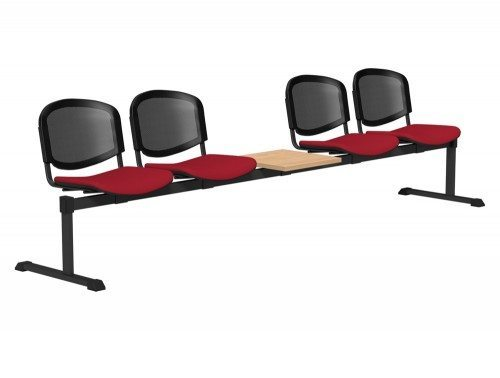OI Series Bench with Table Mesh Backrest BE-BLK-5PT-E090-TKMS1 in E090 Red