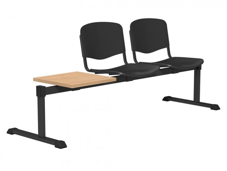 OI Series Bench with Table Plastic BE-BLK-3PT-BLK in Black