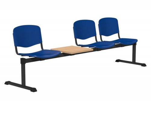 OI Series Bench with Table Plastic BE-BLK-4PT-BLU in Blue