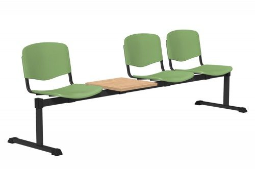 OI Series Bench with Table Plastic BE-BLK-4PT-PST in Pistachio