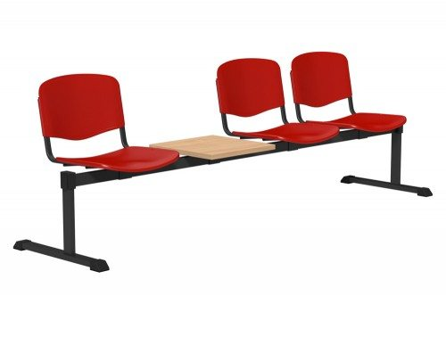 OI Series Bench with Table Plastic BE-BLK-4PT-RED in Red