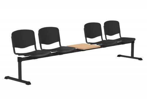 OI Series Bench with Table Plastic BE-BLK-5PT-BLK in Black