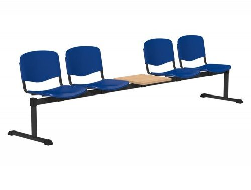 OI Series Bench with Table Plastic BE-BLK-5PT-BLU in Blue