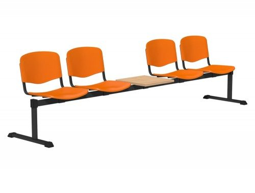 OI Series Bench with Table Plastic BE-BLK-5PT-ORG in Orange