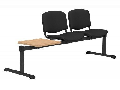 OI Series Bench with Table Upholstered Backrest BE-BLK-3PT-E001 in E001 Black