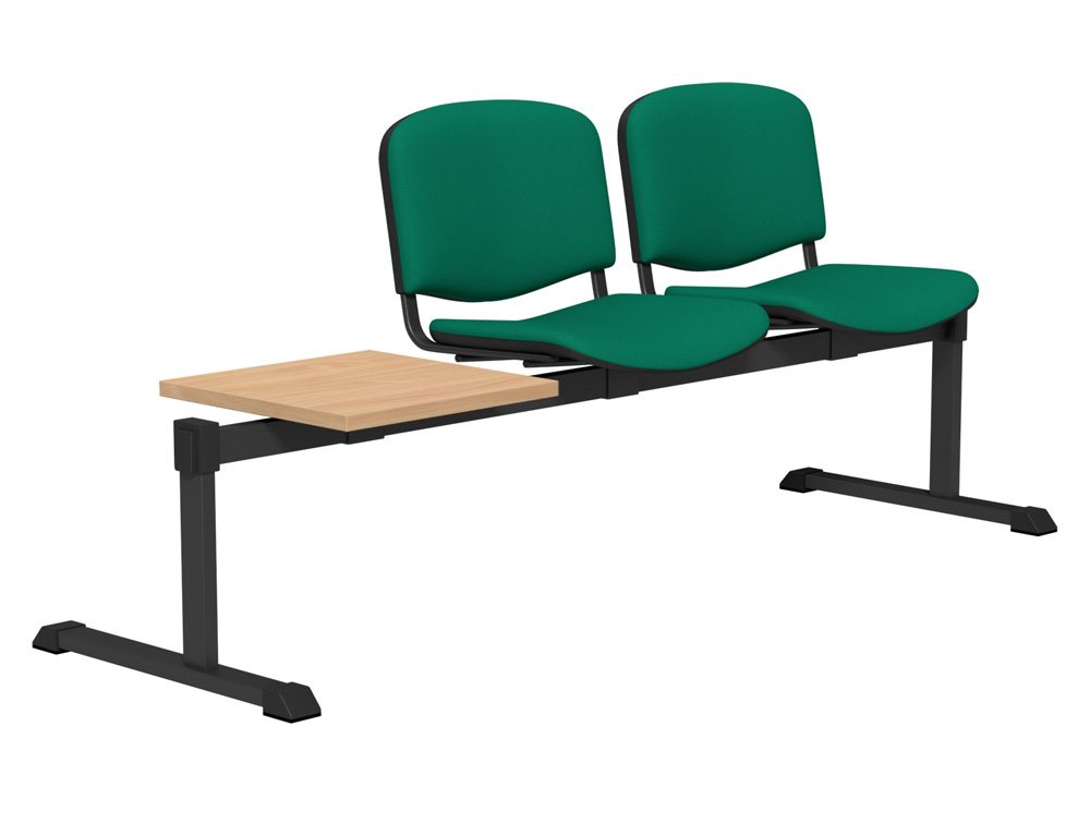 OI Series Bench with Table Upholstered Backrest BE-BLK-3PT-E050 in E050 Green