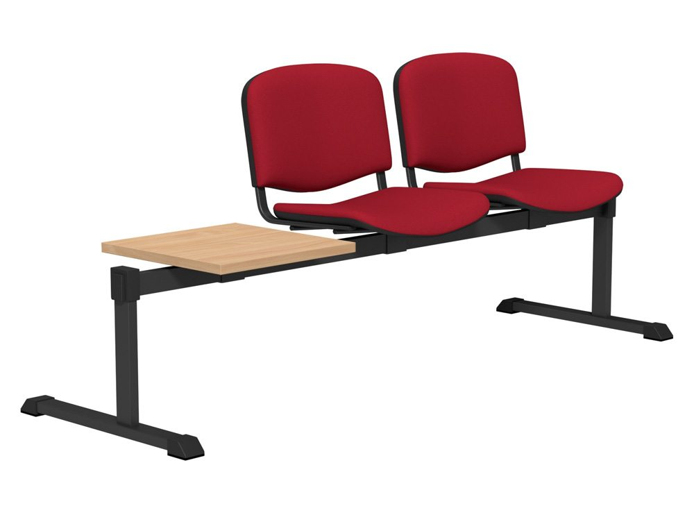 OI Series Bench with Table Upholstered Backrest BE-BLK-3PT-E090 in E090 Red