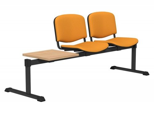 OI Series Bench with Table Upholstered Backrest BE-BLK-3PT-E112 in E112 Yellow
