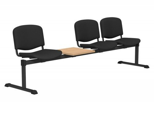 OI Series Bench with Table Upholstered Backrest BE-BLK-4PT-E001 in E001 Black