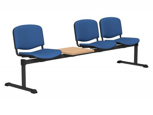 OI Series Bench with Table Upholstered Backrest BE-BLK-4PT-E032 in E032 Blue