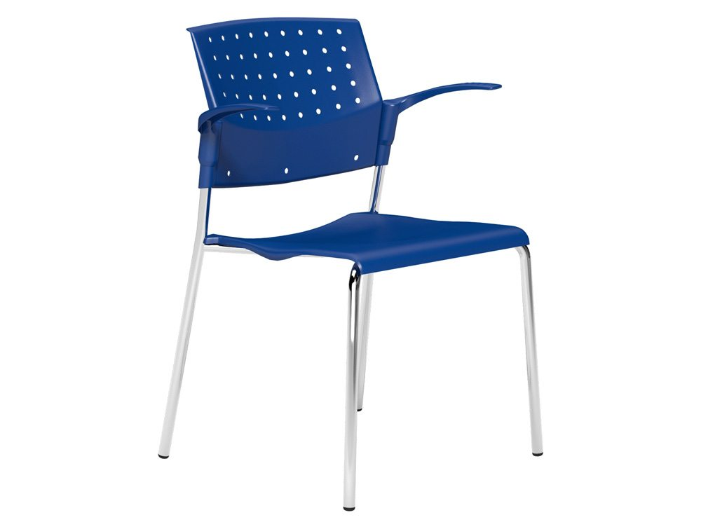 OMStackable Plastic Meeting Conference Chair with Arms in Blue
