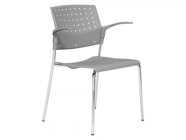 OMStackable Plastic Meeting Conference Chair with Arms in Grey