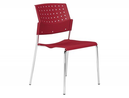 OMStackable Plastic Meeting Conference Chair without Arms in Red