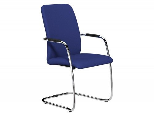 OQ Series High Backrest Stacking Chair Chrome Frame in E031 Navy