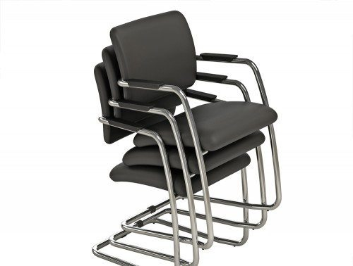 OQ Series Mid Backrest Black Faux Cantilever Stackable Chairs
