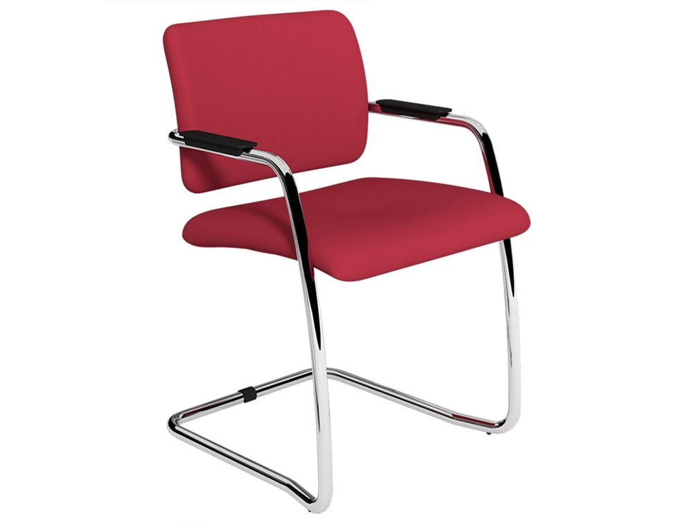 OQ Series Mid Backrest Red Cantilever Leg Chair