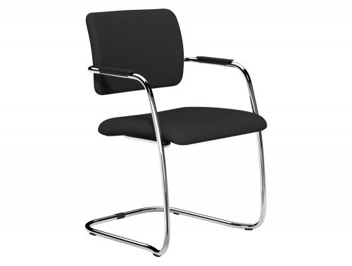 OQ Series Mid Backrest Stacking Chair Chrome Frame in E001 Black