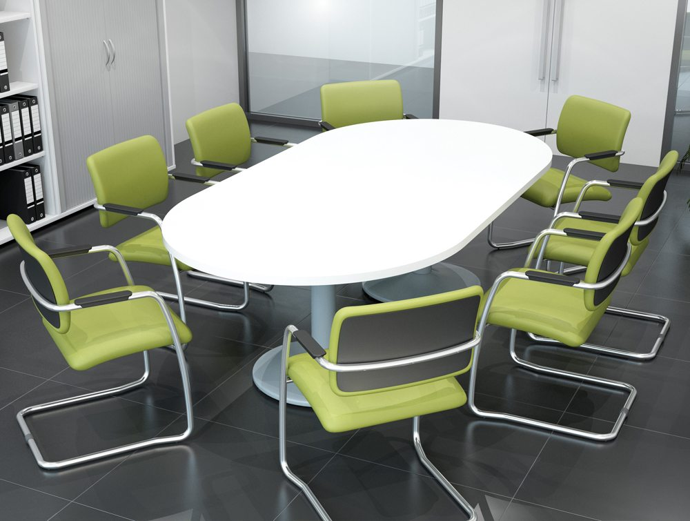 OQ Series Mid Backrest Swizzle Green Fabric Cantilever Leg Meeting Chairs