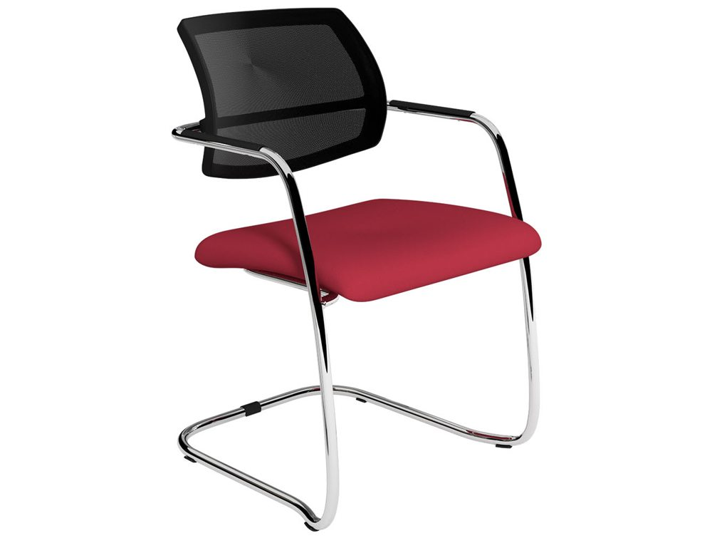 OQ Series Mid Mesh Back Cantilever Red Seat Office Chair