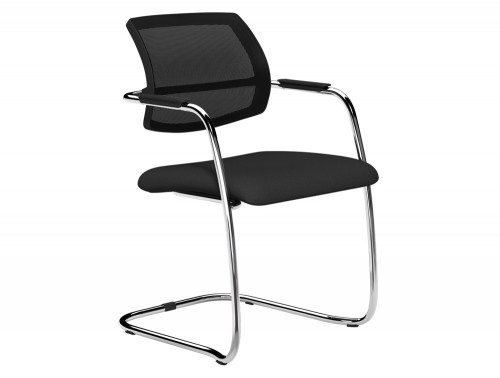 OQ Series Mid Mesh Backrest Stacking Chair Chrome Frame in E001 Black and Black  Mesh