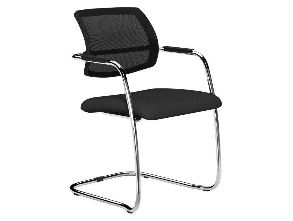 OQ Series Mid Mesh Backrest Stacking Chair Chrome Frame in E001 Black and Black  Mesh