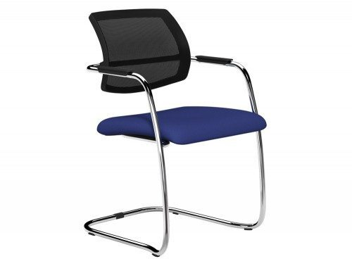 OQ Series Mid Mesh Backrest Stacking Chair Chrome Frame in E031 Navy and Black  Mesh
