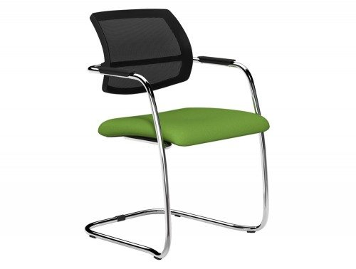 OQ Series Mid Mesh Backrest Stacking Chair Chrome Frame in E051 Green and Black  Mesh