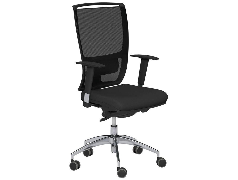Oz Series Mesh Back Swivel Chair With Variable Arms In Black