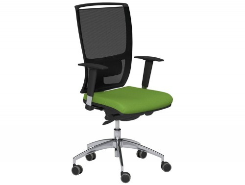 OZ Series High Backrest Swivel Mesh Chair Vario Adjustable Arms Black Mesh E051 Green With Lumbar Support