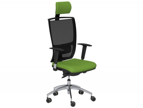 OZ Series High Backrest Swivel Mesh Chair with Headrest Vario Adjustable Arms Black Mesh E051 Green With Lumbar Support