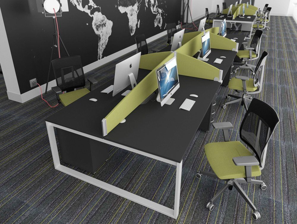 Office Desks with White Closed Legs and Black Table Tops and Pale Green Desk Screens and Chairs