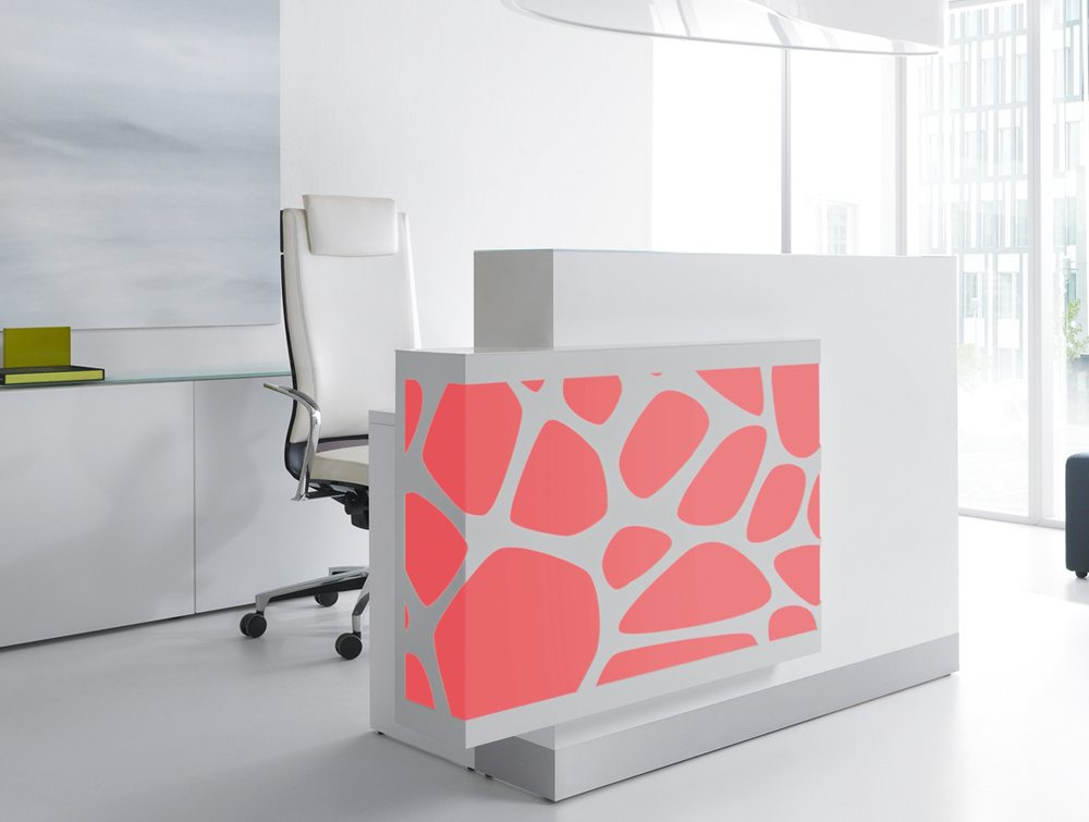 Organic lights reception desk in red